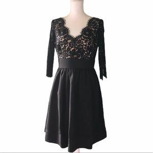 """ELIZA J Sz 8 Lace """"Faille"""" Black Cocktail Dress"""